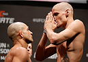 NATAL, BRAZIL - MARCH 22:  (L-R) Opponents Diego Brandao and Will Chope face off during the UFC weigh-in at Ginasio Nelio Dias on March 22, 2014 in Natal, Brazil. (Photo by Josh Hedges/Zuffa LLC/Zuffa LLC via Getty Images)