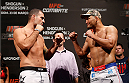 "NATAL, BRAZIL - MARCH 22:  (L-R) Opponents Mauricio ""Shogun"" Rua and Dan Henderson face off during the UFC weigh-in at Ginasio Nelio Dias on March 22, 2014 in Natal, Brazil. (Photo by Josh Hedges/Zuffa LLC/Zuffa LLC via Getty Images)"