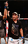 NATAL, BRAZIL - MARCH 23:  Dan Henderson reacts after knocking out Mauricio