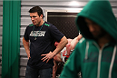 SAO PAULO, BRAZIL - JANUARY 24:  Coach Chael Sonnen helps prepare Team Sonnen fighter Guilherme de Vasconcelos before his fight against Team Wanderlei fighter Ricardo Abreu in their middleweight fight during season three of The Ultimate Fighter Brazil on January 24, 2014 in Sao Paulo, Brazil. (Photo by Luiz Pires Dias/Zuffa LLC/Zuffa LLC via Getty Images) *** Local Caption *** Chael Sonnen
