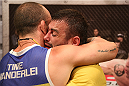 SAO PAULO, BRAZIL - JANUARY 24:  (R-L) Team Wanderlei fighter Ricardo Abreu is embraced by coach Wanderlei Silva after defeating Team Sonnen fighter Guilherme de Vasconcelos in their middleweight fight during season three of The Ultimate Fighter Brazil on January 24, 2014 in Sao Paulo, Brazil. (Photo by Luiz Pires Dias/Zuffa LLC/Zuffa LLC via Getty Images) *** Local Caption *** Ricardo Abreu; Wanderlei Silva