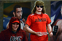 LACHUTE, CANADA - DECEMBER 9:  Team Canada fighter Olivier Aubin-Mercier stands with teammate Nordine Taleb during filming of The Ultimate Fighter Nations television series on December 9, 2013 in Lachute, Quebec, Canada. (Photo by Richard Wolowicz/Zuffa LLC/Zuffa LLC via Getty Images) *** Local Caption *** Olivier Aubin-Mercier; Nordine Taleb