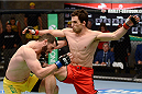 LACHUTE, CANADA - DECEMBER 9:  (R-L) Team Canada fighter Sheldon Wescott lands a knee to the head of Team Australia fighter Vic Grujic in their semifinal middleweight fight during filming of The Ultimate Fighter Nations television series on December 9, 2013 in Lachute, Quebec, Canada. (Photo by Richard Wolowicz/Zuffa LLC/Zuffa LLC via Getty Images) *** Local Caption *** Sheldon Wescott; Vic Grujic