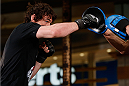 QUEBEC CITY, CANADA - APRIL 13:  Olivier Aubin-Mercier holds an open training session for fans and media at the Centre Commercial Place Fleur de Lys on April 13, 2014 in Quebec City, Quebec, Canada. (Photo by Josh Hedges/Zuffa LLC/Zuffa LLC via Getty Images)