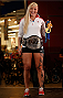 QUEBEC CITY, CANADA - APRIL 13:  Canadian Olympic gold medalist Kaillie Humphries poses with the UFC belt during the UFC open workouts at the Centre Commercial Place Fleur de Lys on April 13, 2014 in Quebec City, Quebec, Canada. (Photo by Josh Hedges/Zuffa LLC/Zuffa LLC via Getty Images)