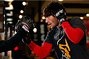 QUEBEC CITY, CANADA - APRIL 13:  Elias Theodorou holds an open training session for fans and media at the Centre Commercial Place Fleur de Lys on April 13, 2014 in Quebec City, Quebec, Canada. (Photo by Josh Hedges/Zuffa LLC/Zuffa LLC via Getty Images)