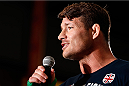 QUEBEC CITY, CANADA - APRIL 13:  Michael Bisping interacts with the audience after an open training session for fans and media at the Centre Commercial Place Fleur de Lys on April 13, 2014 in Quebec City, Quebec, Canada. (Photo by Josh Hedges/Zuffa LLC/Zuffa LLC via Getty Images)