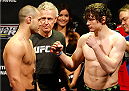 QUEBEC CITY, CANADA - APRIL 15:  (L-R) Opponents Chad Laprise and Olivier Aubin-Mercier face off during the TUF Nations Finale weigh-in at Colisee Pepsi on April 15, 2014 in Quebec City, Quebec, Canada. (Photo by Josh Hedges/Zuffa LLC/Zuffa LLC via Getty Images)