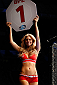 QUEBEC CITY, CANADA - APRIL 16:  UFC Octagon Girl Chrissy Blair introduces a round during the TUF Nations Finale at Colisee Pepsi on April 16, 2014 in Quebec City, Quebec, Canada. (Photo by Josh Hedges/Zuffa LLC/Zuffa LLC via Getty Images)