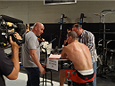 UFC president Dana White speaks to contestant Nordine Taleb following his Ultimate Fighter 19 elimination bout.
