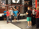 UFC president Dana White and Ultimate Fighter coaches BJ Penn and Frankie Edgar prepare split the teams up.