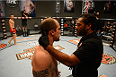 LAS VEGAS, NV - OCTOBER 16:  (R-L) Referee Herb Dean checks on Daniel Vizcaya after he was knocked down by Matt Van Buren in their elimination fight during filming of season nineteen of The Ultimate Fighter on October 16, 2013 in Las Vegas, Nevada. (Photo by Al Powers/Zuffa LLC/Zuffa LLC via Getty Images) *** Local Caption *** Matt Van Buren; Daniel Vizcaya; Herb Dean