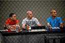 LAS VEGAS, NV - OCTOBER 16:  (L-R) Coach Frankie Edgar, UFC President Dana White and coach BJ Penn watch Eddie Gordon face Matt Gabel in their elimination fight during filming of season nineteen of The Ultimate Fighter on October 16, 2013 in Las Vegas, Nevada. (Photo by Al Powers/Zuffa LLC/Zuffa LLC via Getty Images) *** Local Caption *** Frankie Edgar; Dana White; BJ Penn