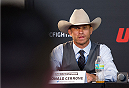 "ORLANDO, FL - APRIL 17:  Donald ""Cowboy"" Cerrone interacts with media during the FOX UFC Saturday pre-fight press conference at Shaquille O'Neal's estate on April 17, 2014 in Orlando, Florida. (Photo by Mike Roach/Zuffa LLC/Zuffa LLC via Getty Images)"