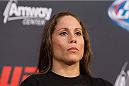 ORLANDO, FL - APRIL 17:  Liz Carmouche interacts with media during the FOX UFC Saturday pre-fight press conference at Shaquille O'Neal's estate on April 17, 2014 in Orlando, Florida. (Photo by Mike Roach/Zuffa LLC/Zuffa LLC via Getty Images)
