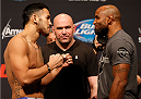 ORLANDO, FL - APRIL 18:  (L-R) Opponents Brad Tavares and Yoel Romero face off during the FOX UFC Saturday weigh-in at the Amway Center on April 18, 2014 in Orlando, Florida. (Photo by Josh Hedges/Zuffa LLC/Zuffa LLC via Getty Images)