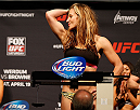 ORLANDO, FL - APRIL 18:  Miesha Tate weighs in during the FOX UFC Saturday weigh-in at the Amway Center on April 18, 2014 in Orlando, Florida. (Photo by Josh Hedges/Zuffa LLC/Zuffa LLC via Getty Images)