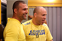 SAO PAULO, BRAZIL - JANUARY 30:  (L-R) Mauricio 'Shogun' Rua meets with Coach Wanderlei Silva before Team Wanderlei fighter Paulo Costa faces Team Sonnen fighter Marcio Junior in their middleweight fight during season three of The Ultimate Fighter Brazil on January 30, 2014 in Sao Paulo, Brazil. (Photo by Luiz Pires Dias/Zuffa LLC/Zuffa LLC via Getty Images) *** Local Caption *** Mauricio Rua; Wanderlei Silva