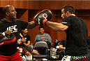 ORLANDO, FL - APRIL 19:  Fabricio Werdum warms up in his locker room before his bout against Travis Browne during the FOX UFC Saturday event at the Amway Center on April 19, 2014 in Orlando, Florida. (Photo by Mike Roach/Zuffa LLC/Zuffa LLC via Getty Images)