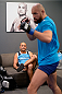 LAS VEGAS, NV - OCTOBER 24:  (L-R) Coach BJ Penn instructs his fighter Cathal Pendred before taking on Team Edgar fighter Hector Urbina in their preliminary fight during filming of season nineteen of The Ultimate Fighter on October 24, 2013 in Las Vegas, Nevada. (Photo by Jeff Bottari/Zuffa LLC/Zuffa LLC via Getty Images) *** Local Caption *** BJ Penn; Cathal Pendred