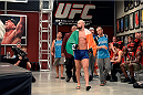 LAS VEGAS, NV - OCTOBER 24:  Team Penn fighter Cathal Pendred enters the gym before facing Team Edgar fighter Hector Urbina in their preliminary fight during filming of season nineteen of The Ultimate Fighter on October 24, 2013 in Las Vegas, Nevada. (Photo by Jeff Bottari/Zuffa LLC/Zuffa LLC via Getty Images) *** Local Caption *** Cathal Pendred