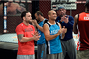 LAS VEGAS, NV - OCTOBER 24:  (L-R) Coach Frankie Edgar and coach BJ Penn discuss the upcoming fight selection during filming of season nineteen of The Ultimate Fighter on October 24, 2013 in Las Vegas, Nevada. (Photo by Jeff Bottari/Zuffa LLC/Zuffa LLC via Getty Images) *** Local Caption *** Frankie Edgar; BJ Penn