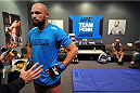 LAS VEGAS, NV - OCTOBER 24:  Team Penn fighter Cathal Pendred receives instructions from the official before facing Team Edgar fighter Hector Urbina in their preliminary fight during filming of season nineteen of The Ultimate Fighter on October 24, 2013 in Las Vegas, Nevada. (Photo by Jeff Bottari/Zuffa LLC/Zuffa LLC via Getty Images) *** Local Caption *** Cathal Pendred