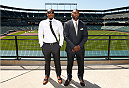 BALTIMORE, MD - APRIL 24:  (L-R) Phil Davis and Anthony Johnson pose for photos at Camden Yards on April 24, 2014 in Baltimore, Maryland. (Photo by Josh Hedges/Zuffa LLC/Zuffa LLC via Getty Images)