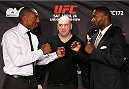 BALTIMORE, MD - APRIL 24:  (L-R) Opponents Phil Davis and Anthony Johnson face off during the UFC 172 media day at Camden Yards on April 24, 2014 in Baltimore, Maryland. (Photo by Josh Hedges/Zuffa LLC/Zuffa LLC via Getty Images)