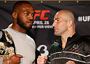 "BALTIMORE, MD - APRIL 24:  (L-R) UFC light heavyweight champion Jon ""Bones"" Jones and opponent Glover Teixeira face off during the UFC 172 media day at Camden Yards on April 24, 2014 in Baltimore, Maryland. (Photo by Josh Hedges/Zuffa LLC/Zuffa LLC via Getty Images)"