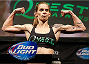 BALTIMORE, MD - APRIL 25: Jessamyn Duke weighs in during the UFC 172 weigh-in at the Baltimore Arena on April 25, 2014 in Baltimore, Maryland. (Photo by Josh Hedges/Zuffa LLC/Zuffa LLC via Getty Images)