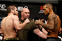 BALTIMORE, MD - APRIL 25:  (L-R) Opponents Jim Miller and Yancy Medeiros face off during the UFC 172 weigh-in at the Baltimore Arena on April 25, 2014 in Baltimore, Maryland. (Photo by Josh Hedges/Zuffa LLC/Zuffa LLC via Getty Images)