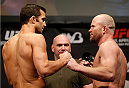 BALTIMORE, MD - APRIL 25:  (L-R) Opponents Luke Rockhold and Tim Boetsch face off during the UFC 172 weigh-in at the Baltimore Arena on April 25, 2014 in Baltimore, Maryland. (Photo by Josh Hedges/Zuffa LLC/Zuffa LLC via Getty Images)