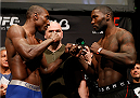 BALTIMORE, MD - APRIL 25:  (L-R) Opponents Phil Davis and Anthony Johnson face off during the UFC 172 weigh-in at the Baltimore Arena on April 25, 2014 in Baltimore, Maryland. (Photo by Josh Hedges/Zuffa LLC/Zuffa LLC via Getty Images)