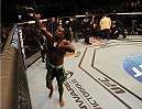 BALTIMORE, MD - APRIL 26:  Chris Beal reacts after his knockout victory over Patrick Williams in their bantamweight bout during the UFC 172 event at the Baltimore Arena on April 26, 2014 in Baltimore, Maryland. (Photo by Patrick Smith/Zuffa LLC/Zuffa LLC via Getty Images)