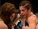 BALTIMORE, MD - APRIL 26:  (R-L) Bethe Correia squares off with opponent Jessamyn Duke in their women's bantamweight bout during the UFC 172 event at the Baltimore Arena on April 26, 2014 in Baltimore, Maryland. (Photo by Patrick Smith/Zuffa LLC/Zuffa LLC via Getty Images)