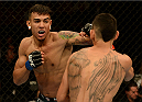 BALTIMORE, MD - APRIL 26:  (L-R) Andre Fili punches Max Holloway in their featherweight bout during the UFC 172 event at the Baltimore Arena on April 26, 2014 in Baltimore, Maryland. (Photo by Patrick Smith/Zuffa LLC/Zuffa LLC via Getty Images)