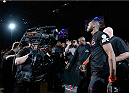 "BALTIMORE, MD - APRIL 26:  Jon ""Bones"" Jones enters the arena before his light heavyweight championship bout during the UFC 172 event at the Baltimore Arena on April 26, 2014 in Baltimore, Maryland. (Photo by Josh Hedges/Zuffa LLC/Zuffa LLC via Getty Images)"
