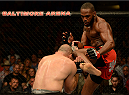BALTIMORE, MD - APRIL 26:  (R-L) Glover Teixeira kicks Jon