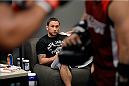 LAS VEGAS, NV - NOVEMBER 1:  Coach Frankie Edgar watches as team Edgar fighter Dhiego Lima warms up before facing team Penn fighter Tim Williams in their preliminary fight during filming of season nineteen of The Ultimate Fighter on November 1, 2013 in Las Vegas, Nevada. (Photo by Jeff Bottari/Zuffa LLC/Zuffa LLC via Getty Images) *** Local Caption *** Frankie Edgar