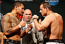 CINCINNATI, OH - MAY 09:  (L-R) Opponents Soa Palelei and Ruan Potts face off during the UFC weigh-in at the U.S. Bank Arena on May 9, 2014 in Cincinnati, Ohio. (Photo by Josh Hedges/Zuffa LLC/Zuffa LLC via Getty Images)