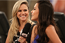 SAO PAULO, BRAZIL - FEBRUARY 8:  (L-R) UFC Host Paula Sack interviews UFC Octagon Girl Camila Rodrigues de Oliveira after Team Wanderlei fighter Jollyson Francino faced Team Sonnen fighter Marcos Rogerio in their heavyweight fight during season three of The Ultimate Fighter Brazil on February 8, 2014 in Sao Paulo, Brazil. (Photo by Luiz Pires Dias/Zuffa LLC/Zuffa LLC via Getty Images) *** Local Caption ***Camila Rodrigues de Oliveira; Paula Sack