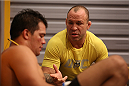 SAO PAULO, BRAZIL - FEBRUARY 8:  Coach Wanderlei Silva speaks with Team Wanderlei fighter Jollyson Francino after being defeated by Team Sonnen fighter Marcos Rogerio in their heavyweight fight during season three of The Ultimate Fighter Brazil on February 8, 2014 in Sao Paulo, Brazil. (Photo by Luiz Pires Dias/Zuffa LLC/Zuffa LLC via Getty Images) *** Local Caption *** Jollyson Francino; Wanderlei Silva