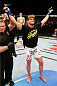 CINCINNATI, OH - MAY 10: Daron Cruickshank reacts after his knockout victory over Erik Koch in their lightweight fight during the UFC Fight Night event at the U.S. Bank Arena on May 10, 2014 in Cincinnati, Ohio. (Photo by Josh Hedges/Zuffa LLC/Zuffa LLC via Getty Images)