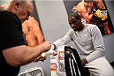 LAS VEGAS, NV - NOVEMBER 5:  Team Edgar fighter Corey Anderson gets his hands wrapped in the locker room before facing team Penn fighter Josh Clark in their preliminary fight during filming of season nineteen of The Ultimate Fighter on November 5, 2013 in Las Vegas, Nevada. (Photo by Al Powers/Zuffa LLC/Zuffa LLC via Getty Images) *** Local Caption *** Corey Anderson
