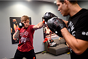 LAS VEGAS, NV - NOVEMBER 8:  Team Edgar fighter Joseph Stephens warms up before his bout against team Penn fighter Roger Zapata in their preliminary fight during filming of season nineteen of The Ultimate Fighter on November 8, 2013 in Las Vegas, Nevada. (Photo by Al Powers/Zuffa LLC/Zuffa LLC via Getty Images) *** Local Caption *** Joseph Stephens
