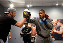 LAS VEGAS, NV - NOVEMBER 8:  Team Penn fighter Roger Zapata warms up before his bout against team Edgar fighter Joseph Stephens in their preliminary fight during filming of season nineteen of The Ultimate Fighter on November 8, 2013 in Las Vegas, Nevada. (Photo by Al Powers/Zuffa LLC/Zuffa LLC via Getty Images) *** Local Caption *** Roger Zapata
