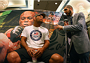 LAS VEGAS, NV - MAY 22:   (L-R) Dan Henderson speaks to MMA journalist Ariel Helwani during the UFC 173 Ultimate Media Day at the MGM Grand Garden Arena on May 22, 2014 in Las Vegas, Nevada. (Photo by Brandon Magnus/Zuffa LLC/Zuffa LLC via Getty Images)