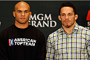LAS VEGAS, NV - MAY 22:  (L-R) Opponents Robbie Lawler and Jake Ellenberger pose for photos during the UFC 173 Ultimate Media Day at the MGM Grand Hotel/Casino on May 22, 2014 in Las Vegas, Nevada.  (Photo by Josh Hedges/Zuffa LLC/Zuffa LLC via Getty Images)