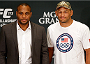 LAS VEGAS, NV - MAY 22:  (L-R) Opponents Daniel Cormier and Dan Henderson pose for photos during the UFC 173 Ultimate Media Day at the MGM Grand Hotel/Casino on May 22, 2014 in Las Vegas, Nevada.  (Photo by Josh Hedges/Zuffa LLC/Zuffa LLC via Getty Images)